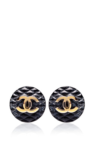 Medium carole tanenbaum gold vintage chanel black quilted cc earrings