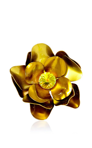 Medium carole tanenbaum gold vintage metal flower pin