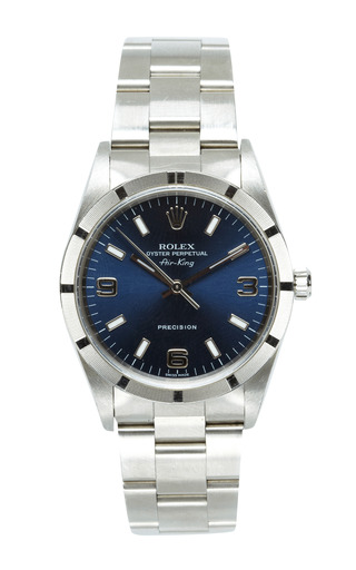 Medium vintage rolex watches silver vintage rolex airking in oyster with blue arabic dial