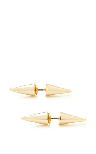 Medium fallon gold double microspike earring
