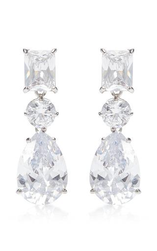 Triple Crystal Drop Earrings by FALLON Now Available on Moda Operandi