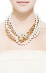 Faux Pearl And Gold Plated Chain Necklace by FALLON Now Available on Moda Operandi