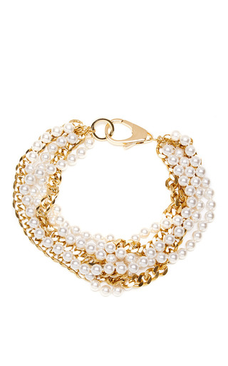 Medium fallon gold swarovski pearl layered choker