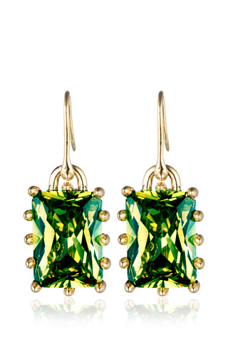 Rectangle Estate Drop Earrings In Green by EDDIE BORGO for Preorder on Moda Operandi