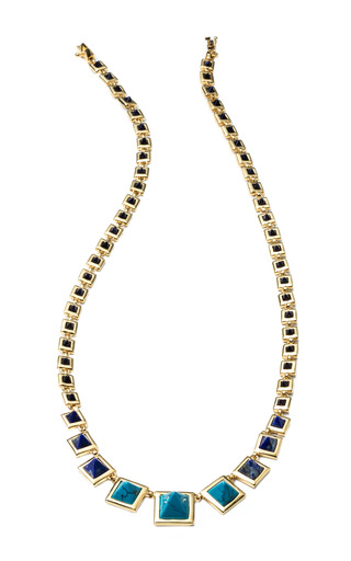 Graduated Gemstone Pyramid Necklace In Lapis And Turquoise by EDDIE BORGO for Preorder on Moda Operandi