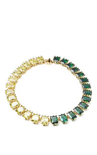 Rectangle Estate Necklace In Green And Yellow by EDDIE BORGO for Preorder on Moda Operandi