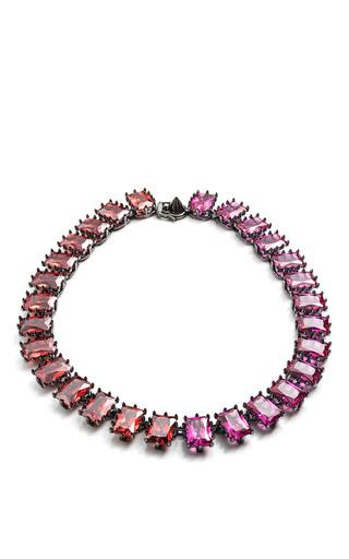Rectangle Estate Necklace In Fuchsia And Red by EDDIE BORGO for Preorder on Moda Operandi