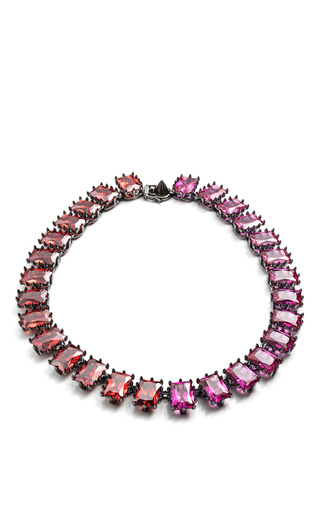 Medium eddie borgo multi rectangle estate necklace in fuchsia and red