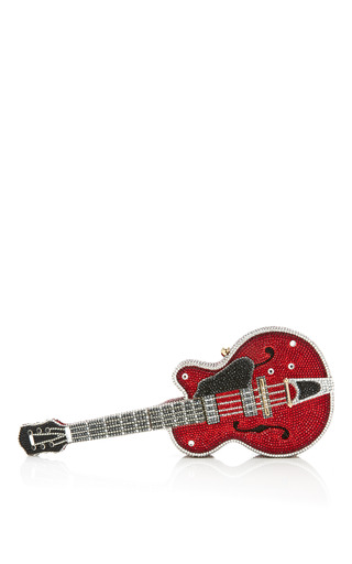 Medium judith leiber multi judith leiber red devil guitar clutch encrusted with white black and firey red crystals