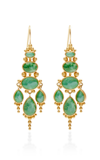 Medium mallary marks green oval jade chandelier earrings