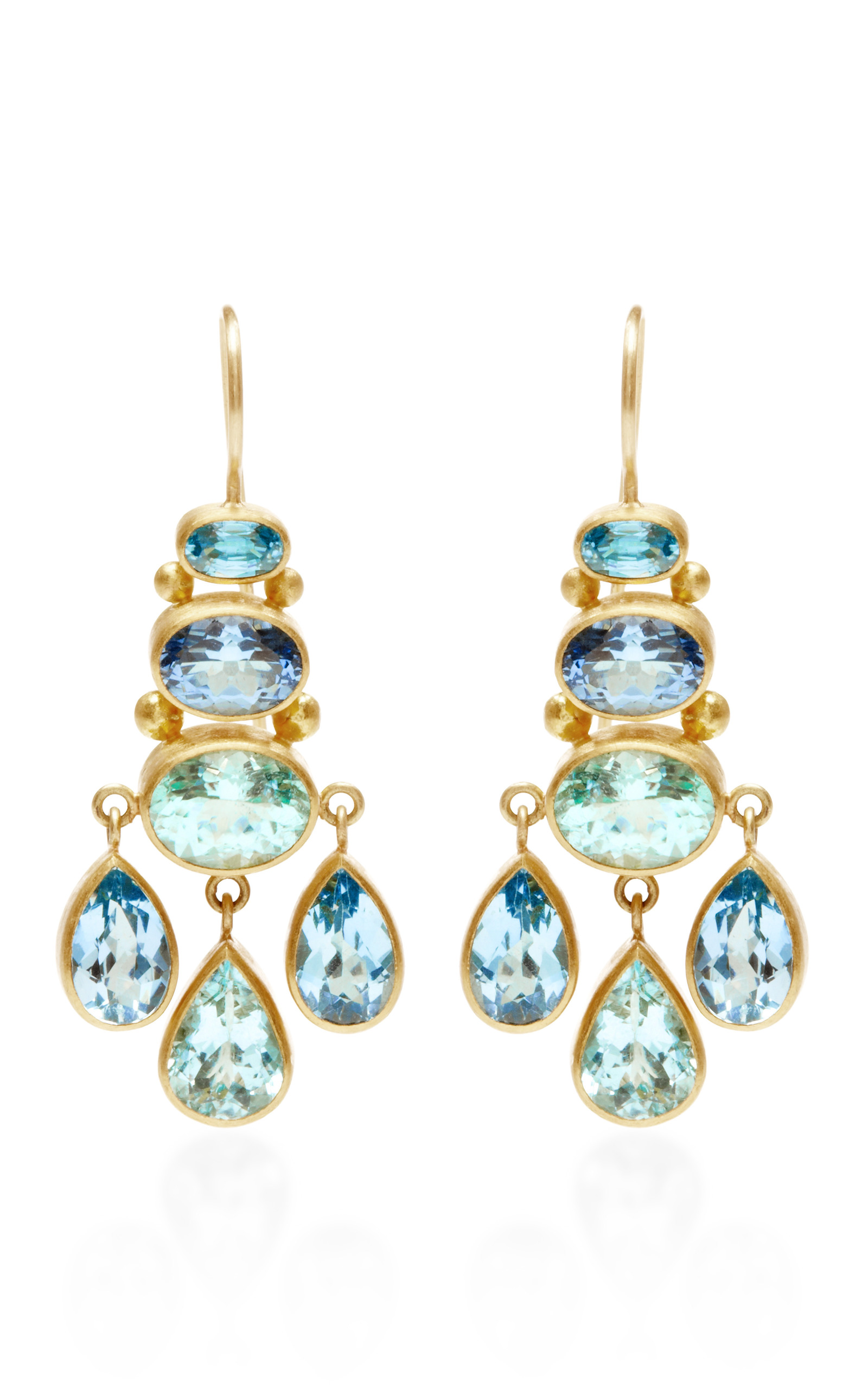Moda operandi one of a kind mint paraiba chandelier earrings by mozeypictures Choice Image