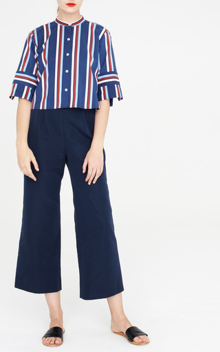 Marco Wide Leg Trousers In Navy by APIECE APART for Preorder on Moda Operandi