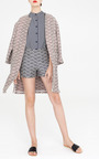 Navy Thatch Jacquard Veneta Short Shorts by APIECE APART for Preorder on Moda Operandi