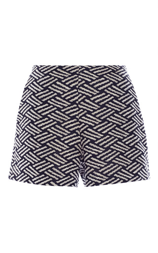 Medium apiece apart print navy thatch jacquard veneta short shorts