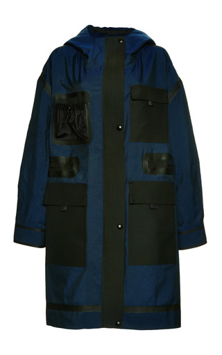 Medium alexander wang blue single breasted hooded parka