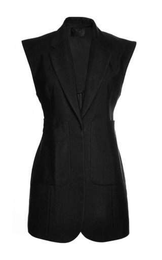 Medium alexander wang black tailored vest with oversized patch pockets