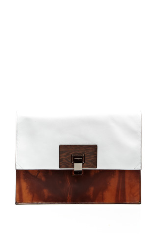 Medium proenza schouler print large lunch bag in wood print leather