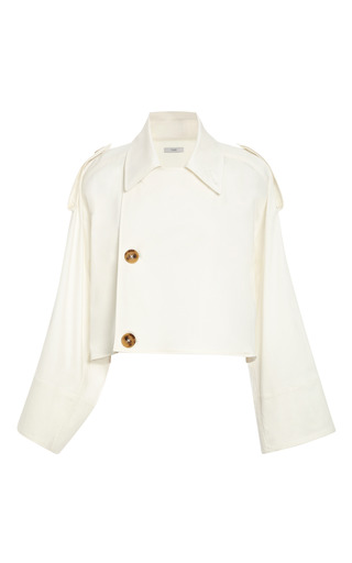 Medium tome white cotton sateen cropped trench coat