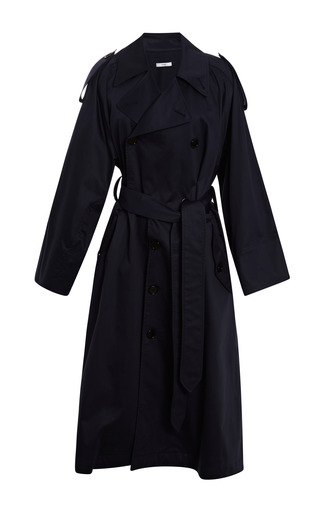 Medium tome navy cotton sateen trenchcoat