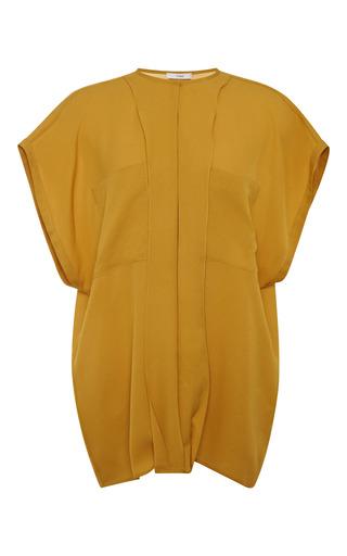 Medium tome yellow pebble georgette sleeveless shirt in mustard