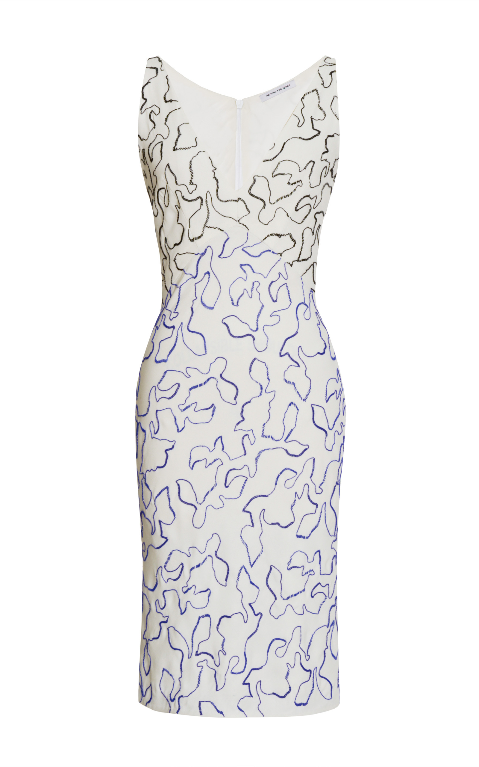 045407d83456 Vine Outline All Embroidered Silk V-Neck Dress by | Moda Operandi