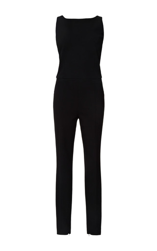 Medium narciso rodriguez black fitted jersey jumpsuit with harness back detail