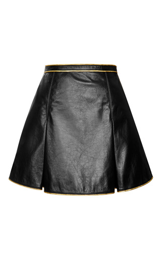 Medium marc jacobs black black leather pleated mini skirt