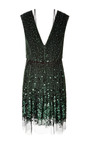 Emerald Vintage Sequin V Neck Dress With Gold Bow by MARC JACOBS for Preorder on Moda Operandi