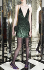 Emerald Vintage Sequins Mini V Neck Dress by MARC JACOBS for Preorder on Moda Operandi