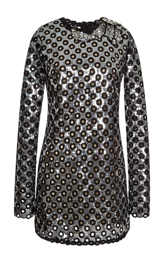 Medium marc jacobs silver silver oversized sequin eyelet long sleeve dress