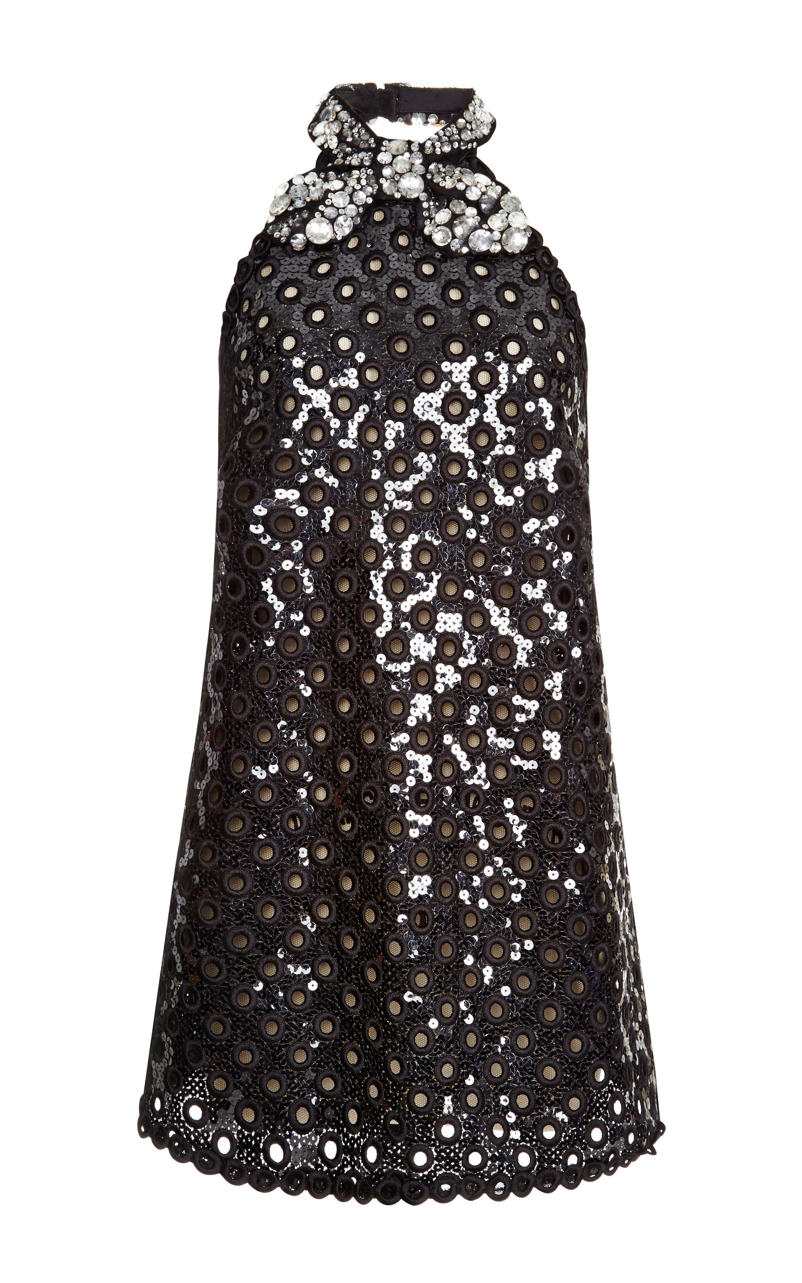 82c5fa0b Marc JacobsBlack Oversized Sequin Eyelet Mini Halter Dress. CLOSE. Loading