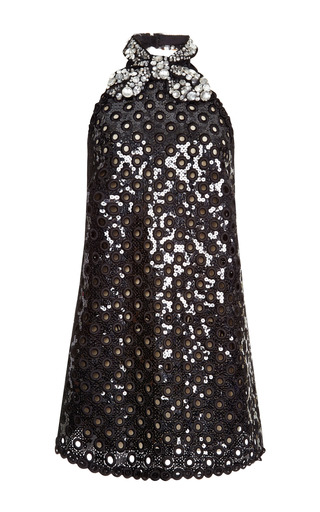 Medium marc jacobs black black oversized sequin eyelet mini halter dress