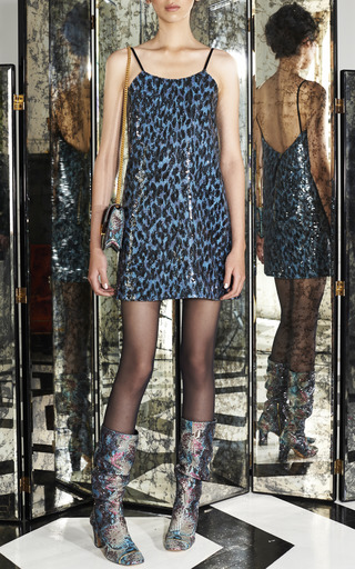 Blue Leopard Sequin Mini Camisole Dress by MARC JACOBS for Preorder on Moda Operandi