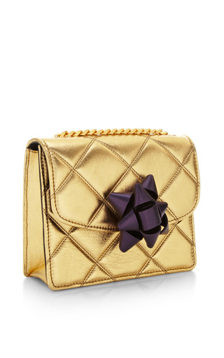 Mini Trouble Bag In Metallic Gold With Violet Party Bow by MARC JACOBS for Preorder on Moda Operandi