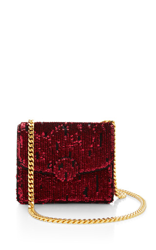 Medium marc jacobs red mini trouble bag in ruby embroidered paillettes