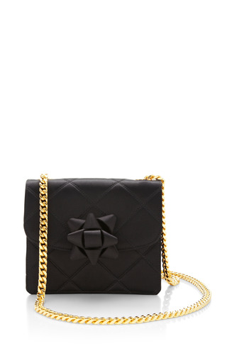 Medium marc jacobs black mini trouble bag in black satin with party bow