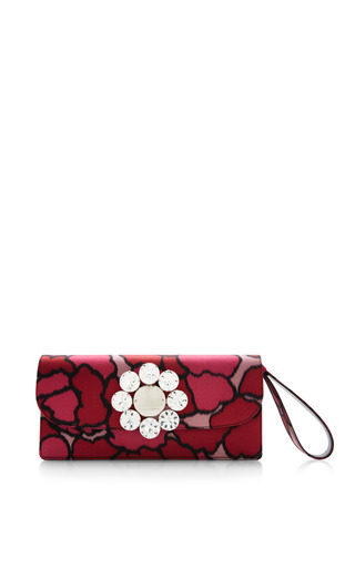Medium marc jacobs print double trouble clutch in pink petal silk