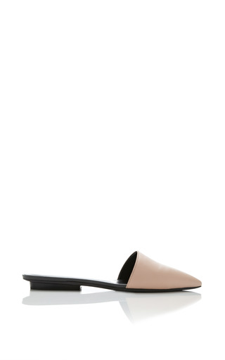 Medium narciso rodriguez brown athena flat mule in nude calf