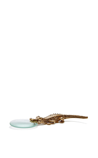 24 K Gold Plated Crocodile Magnifying Glass by L'OBJET Now Available on Moda Operandi