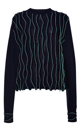 Longsleeve Tunic With Wavy Stitch In Navy by 3.1 PHILLIP LIM for Preorder on Moda Operandi