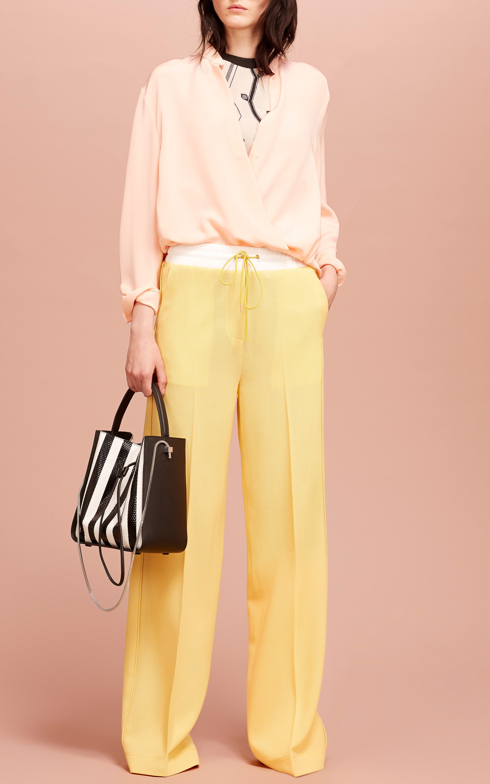f56359f211a2e 3.1 Phillip LimSoftly Draped Blouse With Tucked In Collar In Peach Puff.  CLOSE. Loading. Loading. Loading