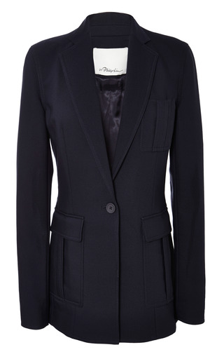 Cut Away Blazer With Patch Pocket In Navy by 3.1 PHILLIP LIM for Preorder on Moda Operandi