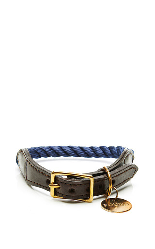 Medium found my animal navy rope and leather collar