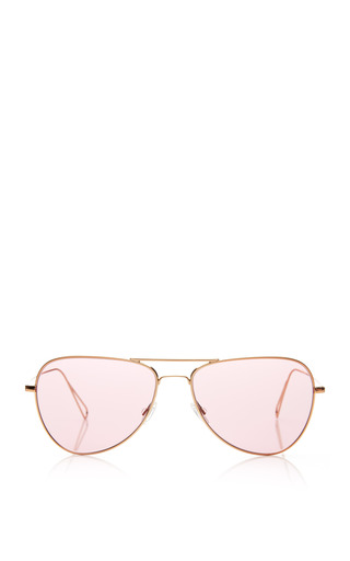 Medium oliver peoples gold matt avaitor sunglasses in rose gold with pink lens