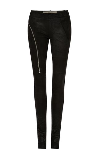 Medium rick owens black stretch leather aircut legging