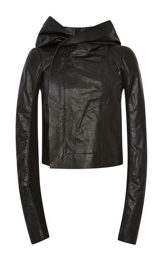 Medium rick owens black glass ice hooded biker jacket