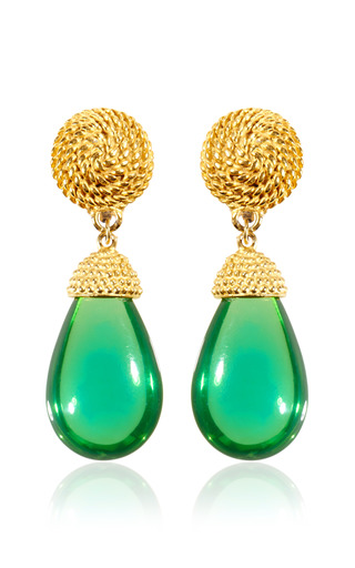 Medium carole tanenbaum green vintage green glass earrings