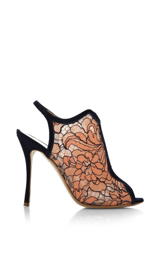 Medium nicholas kirkwood orange lace open toe glove sandal in orange