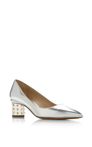 Medium nicholas kirkwood silver triangle pump stud heel in silver