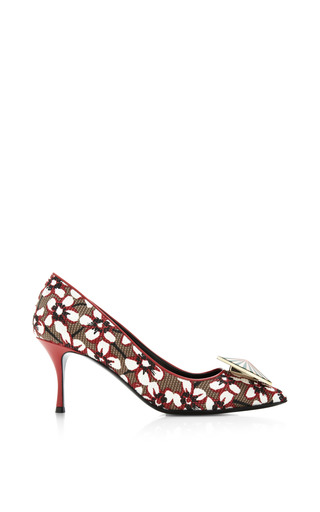 Season Hexagon Pump In Red Floral by NICHOLAS KIRKWOOD for Preorder on Moda Operandi